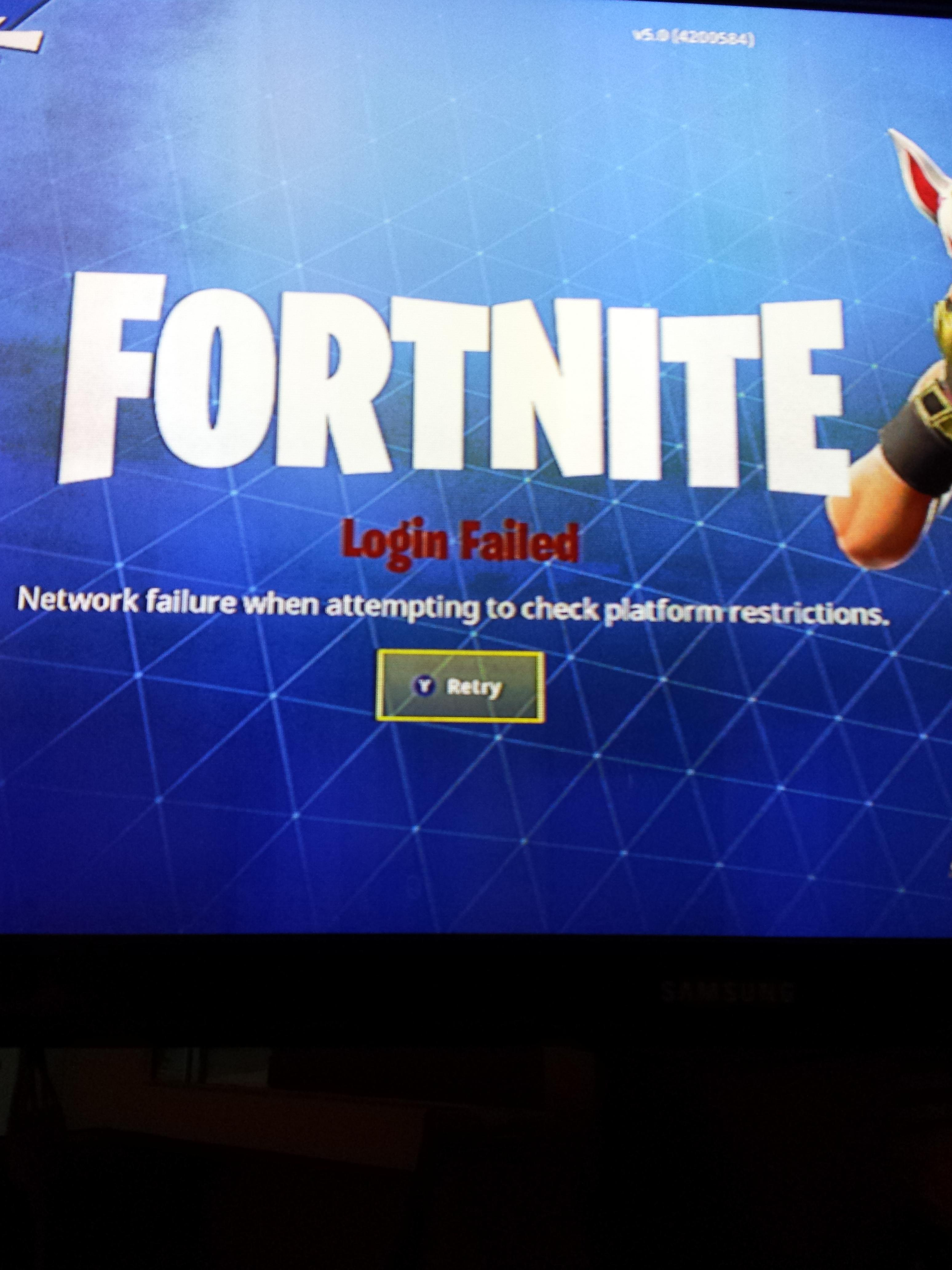 Fortnite network failure when attempting to check platform restrictions ps4