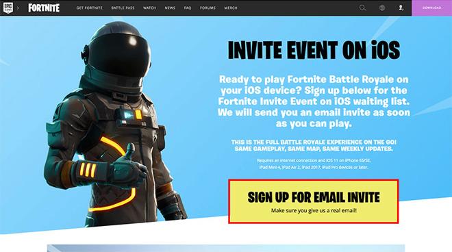 Fortnite battle royale mobile link