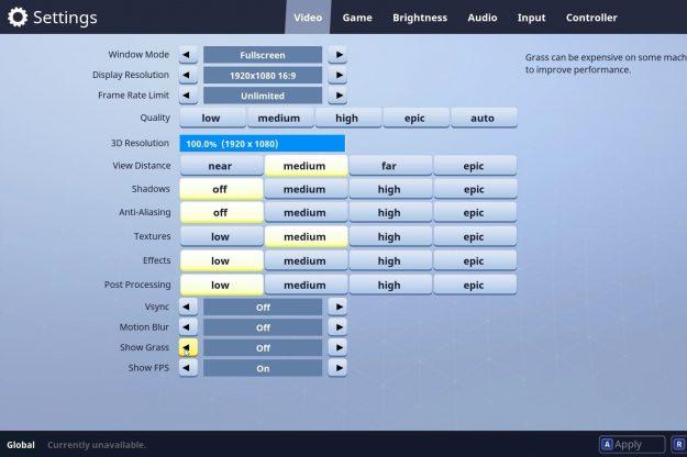 Fortnite best settings xbox