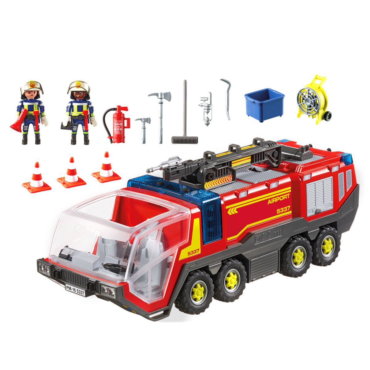 Playmobil pompier avec vehicule aeroportuaire