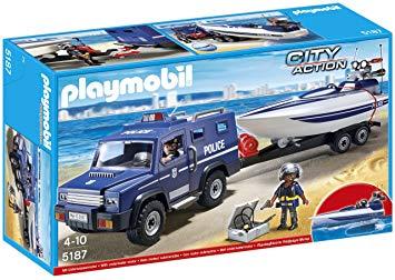 Playmobil police bateau voiture