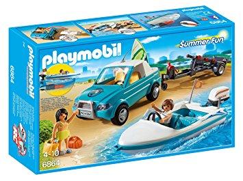 Playmobil voiture verte bateau