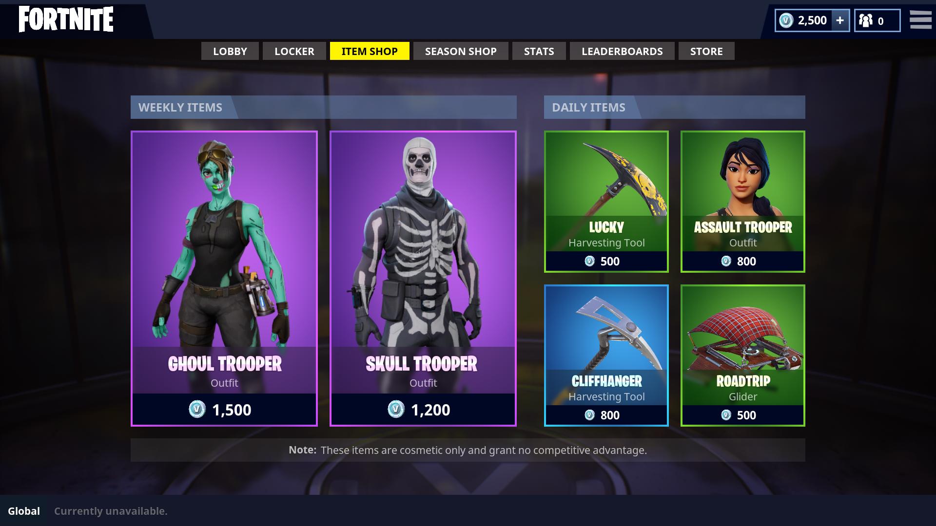 Fortnite live shop items