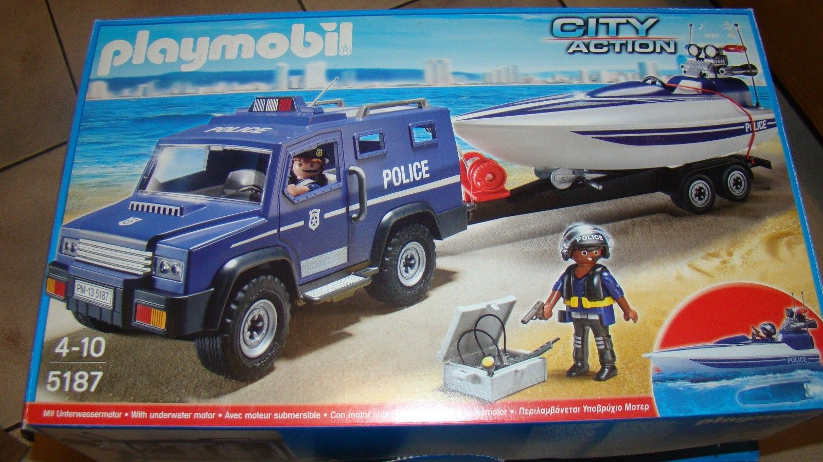 Playmobil 5187 city action fourgon et vedette de police
