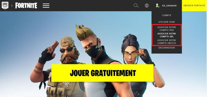 Fortnite switch compte epic