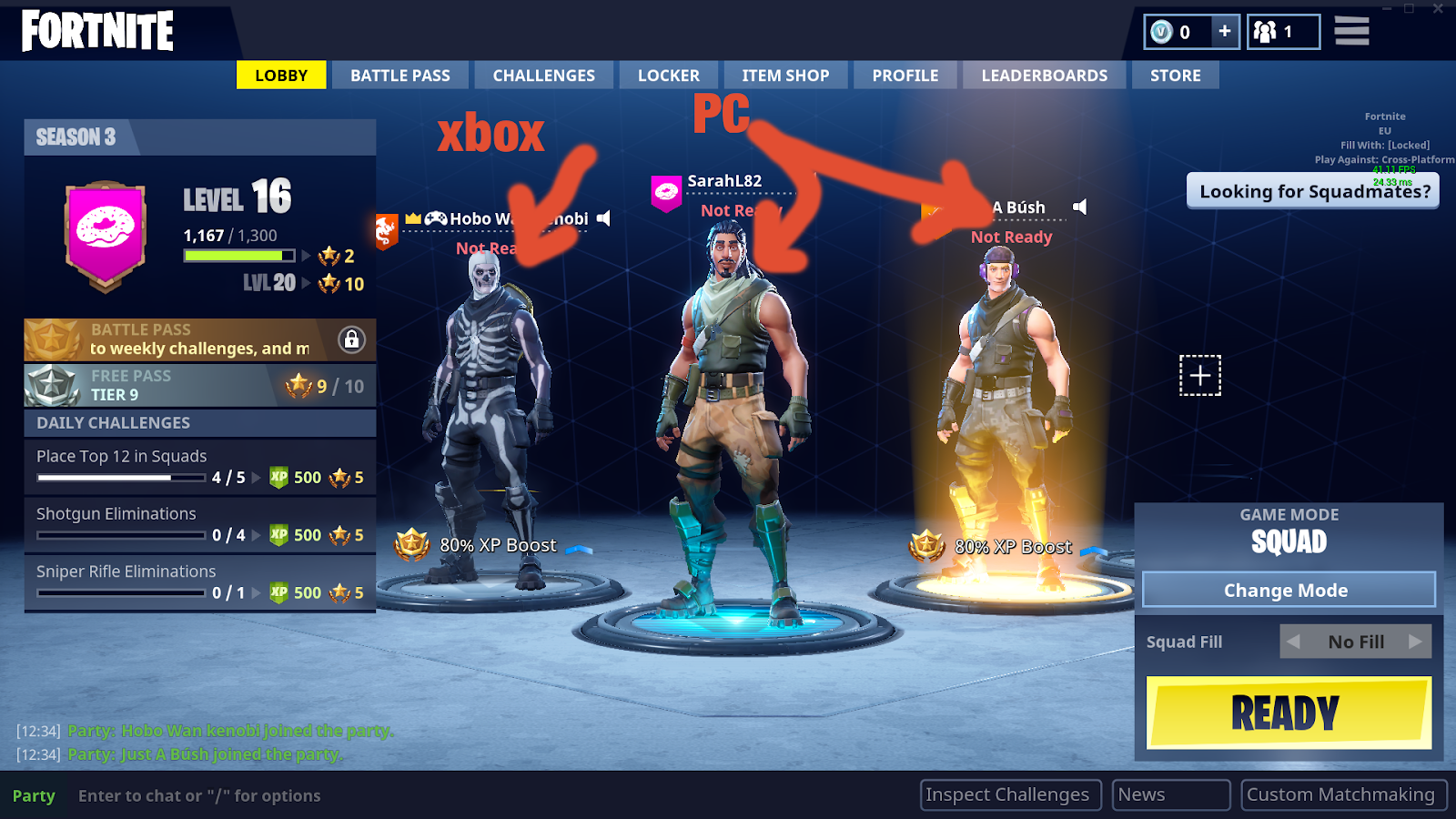Can you play fortnite cross platform pc and xbox one