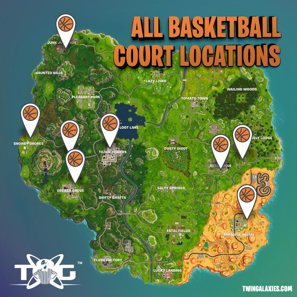 Fortnite all basketball court locations