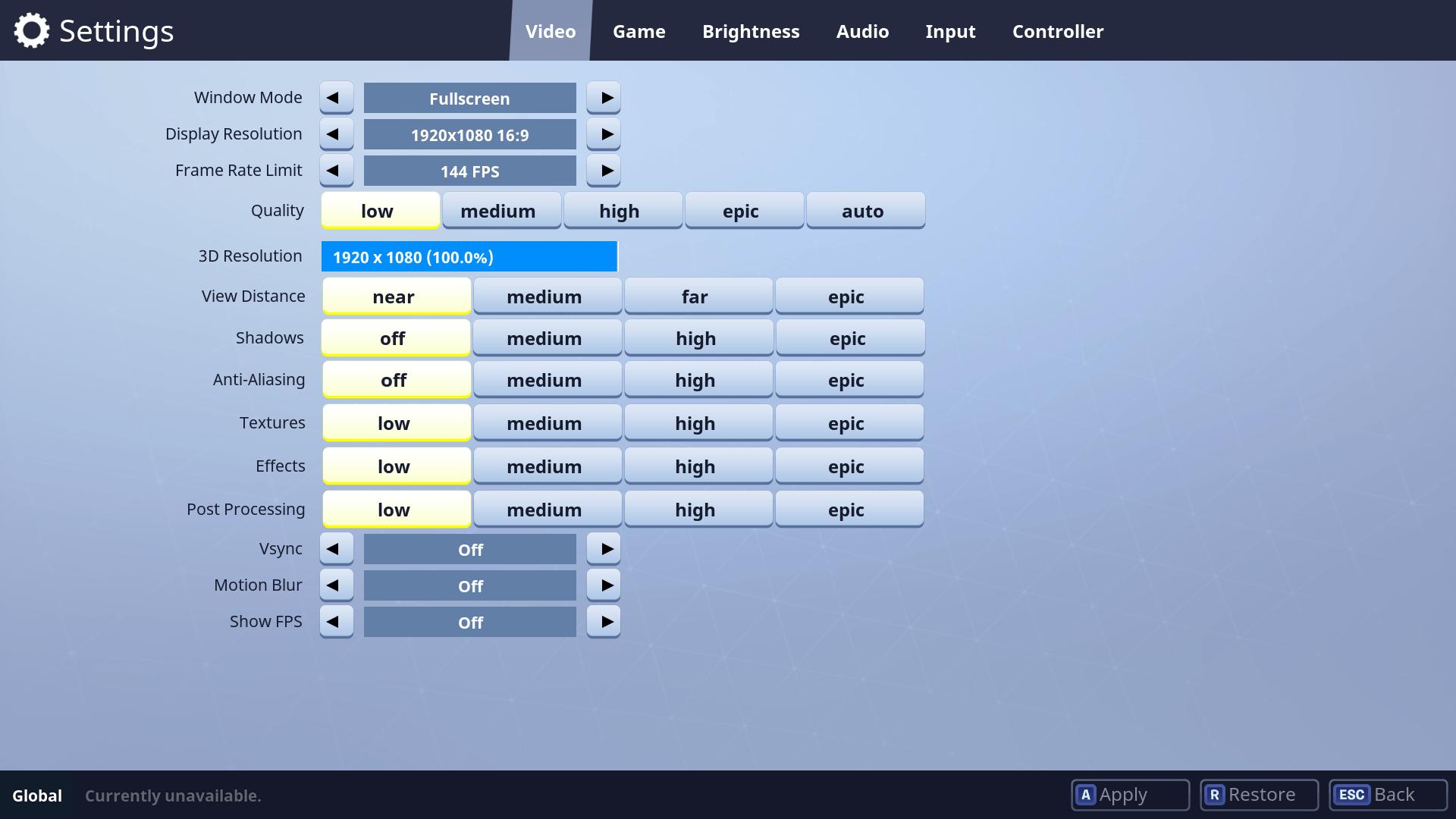 Fortnite game configuration